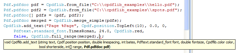 Automatically generated Tooltips for Cpdf functions